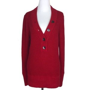 EDDIE BAUER Large Womens Red Button Waffle Sweater